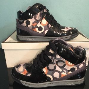 Coach Natalee Hi Top Patent Leather Navy Grey